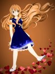 1girl blue_dress blush brown_eyes brown_hair dress golden_time heart kaga_kouko mamegoma39 moon pixiv solo star