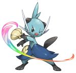 attack black_eyes closed_mouth colorful commentary_request dewott frown full_body legs_apart looking_at_viewer no_humans one_eye_closed pearl7 pokemon pokemon_(creature) rainbow_gradient simple_background solo standing tears white_background
