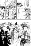 byeontae_jagga comic flat_cap gameplay_mechanics gangut_(kantai_collection) graphite_(medium) hammer_and_sickle hat hibiki_(kantai_collection) highres kantai_collection kiyoshimo_(kantai_collection) long_hair low_twintails military_hat military_jacket monochrome pipe satsuki_(kantai_collection) scar scar_on_cheek school_uniform thigh-highs traditional_media translation_request turret twintails verniy_(kantai_collection) very_long_hair