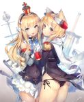 2girls animal_ears ass azur_lane black_dress black_panties blonde_hair blue_eyes bow cannon cape covered_navel crown deecha detached_sleeves dress drill_hair epaulettes eyebrows_visible_through_hair gloves hair_bow hair_ribbon hand_holding headband headgear highres interlocked_fingers long_hair looking_at_viewer looking_back military military_uniform mini_crown multiple_girls open_mouth panties queen_elizabeth_(azur_lane) ribbon scarf short_dress short_hair_with_long_locks side-tie_panties sidelocks simple_background standing sword underwear uniform violet_eyes warspite_(azur_lane) wavy_hair weapon white_background white_bow white_gloves white_scarf