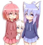 3girls :d absurdres ahoge aka_neko_(idaten93) animal_ears arm_behind_back blue_eyes blue_hoodie blue_skirt blush brown_hoodie closed_mouth collarbone commentary_request cowboy_shot fang fox_ears hand_on_another's_head highres hood hood_down hoodie idaten93 long_hair long_sleeves looking_at_viewer multiple_girls open_mouth original oversized_clothes oversized_shirt parted_lips peeking_out pink_hair pleated_skirt purple_hair red_eyes red_skirt ruua_(idaten93) shirt simple_background skirt sleeves_past_wrists smile till_(idaten93) very_long_hair white_background white_shirt
