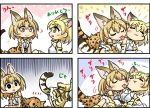 2girls :> :3 =_= all_fours animal_ears arm_support bare_shoulders blonde_hair blush bow bowtie cat_ears cat_tail closed_eyes comic elbow_gloves empty_eyes eyebrows_visible_through_hair gloves high-waist_skirt kemono_friends licking lying multiple_girls nipple_licking no_nose on_back on_side open_mouth print_gloves print_neckwear print_skirt sand_cat_(kemono_friends) sekiguchi_miiru serval_(kemono_friends) serval_ears serval_print serval_tail shirt short_hair skirt sleeveless sleeveless_shirt smile striped_tail tail tongue tongue_out white_pupils yellow_eyes