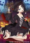 1girl black_dress black_hair blue_eyes bottle candle carchet copyright_name dress ghost gothic_lolita halloween ketchup ketchup_bottle lolita_fashion looking_at_viewer official_art open_mouth pumpkin seiza short_hair sid_story sitting