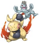 closed_mouth commentary_request fire hand_up looking_at_viewer machop makuhita no_humans open_mouth pearl7 pokemon pokemon_(creature) red_eyes simple_background smile standing white_background