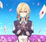 1girl bangs blonde_hair blue_eyes blue_jacket blue_sky braid breasts brooch closed_mouth cravat dress field flower flower_field frown hair_between_eyes hair_ribbon hand_on_own_chest hand_on_own_wrist jacket jewelry letter long_sleeves looking_at_viewer mechanical_hands medium_breasts open_mouth petals red_ribbon ribbon sakaokasan short_hair sidelocks sky solo standing upper_body violet_evergarden violet_evergarden_(character) white_dress