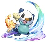 :d arms_up black_eyes commentary_request fang fins fire full_body looking_at_viewer no_humans open_mouth oshawott pearl7 pokemon pokemon_(creature) rainbow seashell shell simple_background smile solo standing water white_background