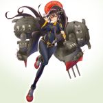 1girl alternate_costume black_bodysuit bodysuit breasts brown_hair cosplay full_body gradient gradient_background headgear highres impossible_clothes kantai_collection large_breasts long_hair looking_at_viewer mokerou oriental_umbrella ponytail rigging salute skin_tight solo turret uchuu_senkan_yamato uchuu_senkan_yamato_2199 umbrella very_long_hair violet_eyes yamamoto_akira yamamoto_akira_(cosplay) yamato_(kantai_collection)