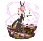 1girl :d animal_ears ankle_bow ankle_ribbon black_footwear black_hairband black_shorts bow bowtie breasts brown_legwear bunny_tail bunnysuit fake_animal_ears from_side full_body hairband head_tilt high_heels holding_eyewear lisbeth_(sao-alo) looking_at_viewer medium_breasts open_mouth pink_hair pointy_ears rabbit_ears red_bow red_eyes red_neckwear ribbon ribbon-trimmed_thighhighs short_hair_with_long_locks short_shorts shorts sidelocks simple_background sleeveless smile solo standing sword_art_online tail thigh-highs white_background wrist_cuffs