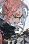 1girl bangs blue_background clenched_teeth copyright_request eyepatch facial_mark forehead_mark from_side hankuri holding holding_sword holding_weapon katana long_hair parted_bangs pink_eyes pink_hair ponytail sideways_mouth simple_background solo sword teeth upper_body weapon