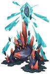 attack commentary_request debris gigalith highres no_humans pearl7 pokemon pokemon_(creature) red_eyes rock simple_background solo white_background