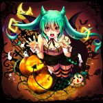 absurdres blue_hair blue_nails claw_pose claws ghost halloween halloween_costume hands_up highres horns nail_polish open_mouth red_eyes