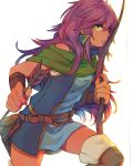 1girl arrow belt blue_dress boots bow_(weapon) bright_pupils closed_mouth dress faris_scherwiz final_fantasy final_fantasy_v fingernails green_eyes green_scarf hair_between_eyes holding knee_up long_hair looking_at_viewer nail_polish purple_nails scarf short_dress simple_background sleeveless solo sunagimo_(nagimo) thigh-highs thigh_boots violet_eyes weapon white_background