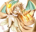 1girl arii_(tari621011) breasts brown_dress brown_eyes brown_footwear brown_hair charizard cleavage detached_sleeves dress fire flame full_body highres long_hair looking_at_viewer open_mouth personification pokemon solo wings