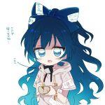 1girl blue_bow blue_eyes blue_hair bow bowl bracelet damaged debt hair_bow hood hoodie jewelry long_hair six_(fnrptal1010) solo stuffed_animal stuffed_cat stuffed_toy touhou translation_request yorigami_shion