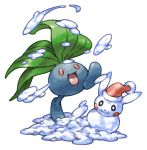 :d commentary_request full_body hat leaf no_humans oddish open_mouth pearl7 pikachu pokemon pokemon_(creature) red_eyes santa_hat simple_background smile snow snowman solo standing standing_on_one_leg white_background
