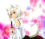detached_sleeves inubashiri_momiji red_eyes short_hair sword tail touhou viva_(pixiv) weapon white_hair wolf_ears wolf_tail yuru_(kashima)