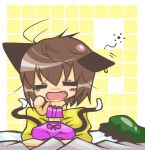 bed brown_hair cat_ears cat_tail chen chibi closed_eyes earrings fang hat jewelry messy_hair multiple_tails nagamo_sakana pillow sleepy tail touhou yawn yawning