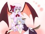 bat_wings blue_hair braid dog_ears dog_tail hairband inu_sakuya izayoi_sakuya kemonomimi_mode lap_pillow purple_hair red_eyes remilia_scarlet short_hair sleeping tail touhou wings yumesuke