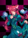 :p animal_ears bad_id braid cat_ears cat_tail checkered checkered_background dress dress_lift floating_skull green_dress hands kaenbyou_rin long_hair pico_(picollector79) red_eyes red_hair tail tongue touhou twin_braids twintails very_long_hair wink