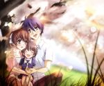 blue_hair brown_eyes brown_hair clannad closed_eyes family furukawa_nagisa husband_and_wife kuro_haruka⑧ kuro_haruka? nature okazaki_tomoya okazaki_ushio ponytail sailor_dress school_uniform short_hair