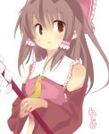 1girl bow brown_eyes brown_hair hair_bow hakurei_reimu touhou