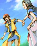 1girl bad_id black_hair couple dragon_quest dragon_quest_viii field hand_holding happy hero_(dq8) holding_hands medea outdoors shibaichi sky