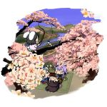 baku_taso black_hair bunny_ears cherry_blossoms chibi houraisan_kaguya inaba_tewi long_hair purple_hair rabbit_ears reisen_udongein_inaba short_hair tail touhou yagokoro_eirin