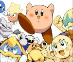 2girls 6+boys bun bun_(kirby) chef_kawasaki crazy_eyes escargon escargoon falala fololo fumu fumu_(kirby) holding_hands hoshi_no_kirby hoshi_no_kirby_(anime) kawasaki king_dedede kirby kirby:_right_back_at_ya! kirby_(series) koki_(pixiv) lalala lalala_(kirby) lololo lololo_(kirby) meta_knight nintendo pointing star tiff tuff waddle_doo