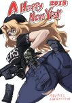 1girl 2018 arm_behind_back ass baseball_cap black_gloves black_hat black_shirt blonde_hair blue_eyes blue_pants breasts clothes_writing commentary_request cowboy_shot english from_behind gemu555 girls_und_panzer gloves goggles grin gun happy_new_year hat holding holding_gun holding_weapon kay_(girls_und_panzer) large_breasts leaning_forward long_hair looking_at_viewer looking_back machine_gun magazine_(weapon) new_year pants pantylines print_shirt shirt smile solo standing t-shirt torn_clothes torn_pants translation_request trigger_discipline weapon weapon_request white_background