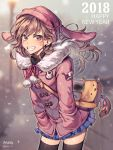 1girl 2018 alternate_costume animal_hat badge bag bangs beanie blue_skirt blurry blurry_background blush braid breath bunny_hat button_badge casual character_name clothes_writing cowboy_shot d.va_(overwatch) duffel_coat earrings elbow_gloves eyebrows_visible_through_hair facial_mark fur gloves hands_in_pockets happy_new_year hat highres jewelry leaning_forward long_hair long_sleeves looking_at_viewer miniskirt new_year outdoors overwatch panza pink_coat pink_hat pleated_skirt pom_pom_(clothes) shoulder_bag skirt snowing solo standing stud_earrings tassel twin_braids whisker_markings winter