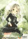 1girl angel_wings bird black_dress candle candlestand dove dress drill_hair green_eyes grey_hair long_hair looking_at_viewer official_art qurare_magic_library siloteddy solo standing white_flowers wings