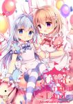 2girls :d animal_ears apron azumi_kazuki balloon bangs blue_bow blue_dress blue_eyes blue_footwear blue_hair blurry blurry_background blush bow candy carousel commentary_request confetti depth_of_field dress eyebrows_visible_through_hair fake_animal_ears food frilled_apron frills gochuumon_wa_usagi_desu_ka? hair_between_eyes hair_ornament hairband hairclip heart highres holding holding_lollipop hoto_cocoa kafuu_chino light_brown_hair lollipop long_hair looking_at_viewer mary_janes multiple_girls open_mouth parted_lips pink_dress puffy_short_sleeves puffy_sleeves rabbit_ears red_bow shoes short_sleeves smile striped striped_bow striped_legwear thigh-highs very_long_hair violet_eyes white_apron white_hairband wrist_cuffs