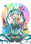 1girl :d absurdly_long_hair aqua_eyes aqua_hair aqua_nails aqua_neckwear bare_shoulders black_legwear black_skirt bottle brown_ribbon detached_sleeves flower g_clef gift hair_flower hair_ornament hatsune_miku headset highres ichino_tomizuki keyboard_print long_hair looking_at_viewer microphone nail_polish open_mouth pink_ribbon rainbow_order red_ribbon ribbon sitting skirt smile solo tattoo thigh-highs twintails very_long_hair vocaloid wariza