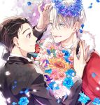 2boys black_hair blue_eyes bouquet bow bowtie brown_eyes cape eye_contact flower fur_trim head_wreath jewelry katsuki_yuuri kuroemon looking_at_another male_focus multiple_boys open_mouth petals ring silver_hair smile tuxedo viktor_nikiforov yuri!!!_on_ice