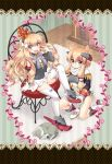 2girls :d azur_lane bare_shoulders blonde_hair blue_bow blush border bow carpet cat chair closed_eyes closed_mouth crown curly_hair detached_sleeves epaulettes eyebrows_visible_through_hair gloves hair_between_eyes hairband indoors long_hair long_sleeves looking_at_viewer lying mini_crown multiple_girls on_side one_knee open_mouth pink_bow queen_elizabeth_(azur_lane) scarf sitting sleeping smile striped thigh-highs uran_(uran-factory) v-shaped_eyebrows vertical-striped_background vertical_stripes very_long_hair warspite_(azur_lane) white_footwear white_gloves white_legwear white_scarf