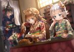 3girls :t animal_ears bangs bell black_hair blonde_hair blue_eyes blush braid chopsticks cup curtains daruma_doll dog_ears dutch_angle eating floral_print flower food food_in_mouth french_braid fruit furisode green_eyes hair_bell hair_ornament hair_ribbon half_updo holding holding_chopsticks holding_plate holding_tray indoors japanese_clothes jingle_bell kagami_mochi kimono kotatsu long_hair long_sleeves mandarin_orange mochi mouth_hold multiple_girls new_year noboriya obi open_mouth original plate ponytail ribbon sash short_hair shrimp silver_hair steam sweatdrop table teapot tray v-shaped_eyebrows vase wagashi wide_sleeves window yunomi