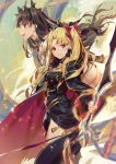 2girls :d ass bangs black_bow black_cape black_dress blonde_hair blush bow brown_hair cape commentary_request dress ereshkigal_(fate/grand_order) eyebrows_visible_through_hair fate/grand_order fate_(series) hair_bow holding holding_sword holding_weapon ishtar_(fate/grand_order) jofang long_hair long_sleeves looking_at_viewer looking_to_the_side multicolored multicolored_cape multicolored_clothes multiple_girls open_mouth outstretched_arm parted_bangs parted_lips red_bow red_cape red_eyes revision skull smile spine sword tiara torn_cape two_side_up very_long_hair weapon