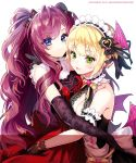 2girls :3 :d arm_cuffs artist_name backless_outfit bangs bare_shoulders black_bow black_dress black_gloves black_ribbon blonde_hair blue_eyes blush bodice bow breasts candy_print choker cleavage cleavage_cutout copyright demon_wings dress elbow_gloves eyebrows_visible_through_hair eyelashes eyes_visible_through_hair frilled_choker frilled_shirt_collar frills glove_bow gloves green_eyes hair_bow hair_ornament hair_ribbon hand_behind_head head_wings heart highres hug ichinose_shiki idolmaster idolmaster_cinderella_girls lace lace-trimmed_shirt lace_trim long_hair looking_at_viewer low_wings maid_headdress medium_breasts messy_hair miyamoto_frederica multiple_girls ninto open-back_dress open_mouth pearl purple_hair red_bow red_skirt ribbed_shirt ribbon sash shirt short_hair skirt sleeveless smile smug sparkle striped striped_bow twitter_username two_side_up upper_body very_long_hair wavy_hair white_background white_bow white_choker white_shirt wings yellow_bow