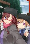 2girls animal_hat bangs beanie black_hat black_sweater blue_coat blue_eyes blue_hair blue_scarf blush breasts brown_hair cat_hat closed_mouth clouds cloudy_sky coat day eyebrows_visible_through_hair eyelashes fur-trimmed_coat fur_trim glasses grey_coat hair_between_eyes hand_on_another's_back hat holding ichinose_shiki idolmaster idolmaster_cinderella_girls light_smile long_hair looking_at_viewer multicolored_hair multiple_girls new_year ninomiya_asuka omikuji one_eye_closed orange_hair outdoors outstretched_arm purple_shirt red-framed_eyewear red_scarf scarf self_shot semi-rimless_eyewear shirt signature sky small_breasts striped striped_scarf sweater tarachine tongue tongue_out torii tree two-tone_hair unbuttoned under-rim_eyewear violet_eyes wavy_hair