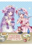 3girls absurdres ama-tou apron ascot bat_wings blue_background blue_hair bottle bowl checkered checkered_background cookie crescent crescent_moon_pin dress eating food hair_ribbon hand_up hat hat_ribbon head_wings highres holding honey jam koakuma long_hair macaron maid_apron minigirl mob_cap multiple_girls pastry_bag patchouli_knowledge pink_hat plate puffy_short_sleeves puffy_sleeves purple_hair red_eyes red_neckwear red_ribbon redhead remilia_scarlet ribbon short_sleeves smile spatula star striped striped_dress touhou violet_eyes wings wrist_cuffs