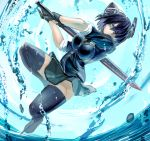1girl black_hair eyepatch full_body gloves green_eyes headgear highres kantai_collection looking_at_viewer miniskirt no_panties partly_fingerless_gloves short_hair skirt sleeves_rolled_up solo sword tenryuu_(kantai_collection) thigh-highs tuskryo water weapon