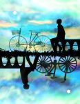 absurdres ambiguous_gender bench bicycle bicycle_basket clouds commentary_request different_reflection full_moon grass ground_vehicle harada_miyuki highres moon original reflection silhouette sitting symmetry