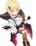 1girl alternate_costume alternate_hairstyle applepie_(12711019) argyle ascot bangs black_gloves blonde_hair blush boots braid brown_footwear collared_shirt cup drinking_glass eyebrows_visible_through_hair eyes_visible_through_hair fang_out fangs french_braid from_above girls_frontline gloves green_eyes gun half_gloves halloween handgun high_heel_boots high_heels highres holding holding_drinking_glass holster holstered_weapon legs_crossed long_sleeves looking_at_viewer o-ring red_wings reflection shiny shiny_clothes shiny_hair shirt short_hair_with_long_locks signature simple_background skindentation sky smile solo star thigh-highs thigh_boots thigh_holster torn_wings vampire vampire_costume weapon welrod_mk2 welrod_mk2_(girls_frontline) white_background white_shirt wide_sleeves wine_glass wing_hair_ornament wings wristband