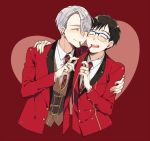 2boys ^_^ black_hair blazer blue-framed_eyewear closed_eyes feeding food glasses hand_on_another's_shoulder heart jacket katsuki_yuuri kuroemon male_focus multiple_boys necktie open_mouth pocky silver_hair smile viktor_nikiforov yaoi yuri!!!_on_ice
