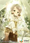 1girl angel_wings bag brown_legwear candle candlestand green_eyes grey_hair handbag looking_at_viewer medium_hair official_art original plaid plaid_skirt qurare_magic_library siloteddy skirt solo standing table thigh-highs white_flowers wings