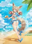 1girl absurdres ahoge animal_ears artist_name ass beach blade_&_soul blue_eyes bow breasts brown_hair cat_ears commentary day flower hair_bow highres innertube light_brown_hair long_hair looking_back low_twintails lyn_(blade_&_soul) ocean sailor_collar sandals small_breasts smile solo star star-shaped_pupils swimsuit symbol-shaped_pupils tankini twintails wonst92