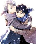 2boys black_hair blue-framed_eyewear blue_eyes brown_eyes coat glasses hug katsuki_yuuri kuroemon male_focus multiple_boys open_mouth scarf silver_hair smile snowing viktor_nikiforov yuri!!!_on_ice