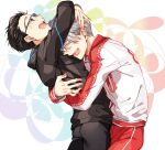 2boys ^_^ black_hair blue-framed_eyewear closed_eyes glasses hair_slicked_back hug jacket jewelry katsuki_yuuri kuroemon male_focus multiple_boys open_mouth ring silver_hair smile track_jacket viktor_nikiforov yuri!!!_on_ice