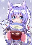 1girl animal animal_ears blue_eyes blue_hair dog highres koyomi_(shironeko_project) mittens pot quad_braids scarf shironeko_project smile snowflakes soramame_pikuto steam stew tarou_(shironeko_project) winter_clothes wolf_ears woollen_cap