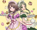 2girls alternate_costume ama-tou brown_hair enmaided green_eyes green_hair looking_at_viewer maid maid_headdress multiple_girls nishida_satono short_hair_with_long_locks smile teireida_mai touhou violet_eyes